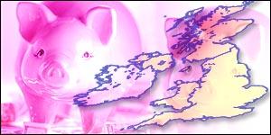 UK map and piggy bank