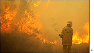 A firefighter tries to control a blaze in Katoomba, west of Sydney, Australia