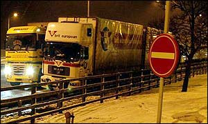 Lorry drivers stuck in a jam