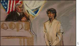 Shoe Bomber suspect Richard C. Reid, right, seen in this court artist drawing