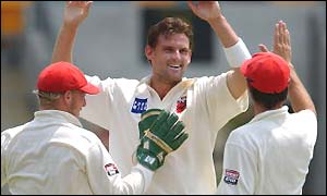 Harrity celebrates a wicket