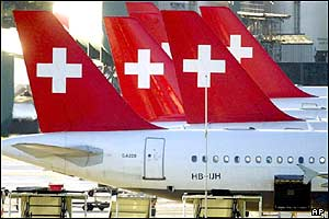 Swissair aircraft stand on the Kloten Airport, 2001