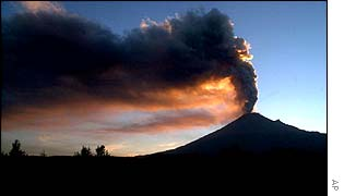 The Popocateptl volcano erupting