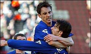 Gary Neville and Ruud van Nistelrooy celebrate Manchester United's opener
