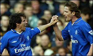 Gianfranco Zola (left) scored for Chelsea after 40 minutes.