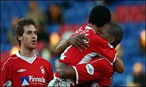Forest's Marlon Harewood is congratulated after scoring