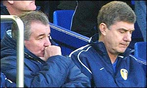Terry Venables (left) and Leeds coach Brian Kidd watch the club's defeat to Everton