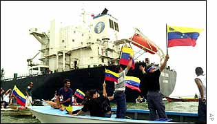 An immobilized oil tanker during general strike in Venezuela