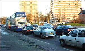 Traffic queues along Edgbaston Road, Birmingham, heading for the city centre