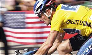 Lance Armstrong in the Tour de France's yellow leader's jersey