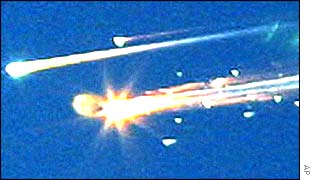 Space shuttle debris falls to Earth
