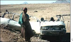 Bombed-out car in Afghanistan