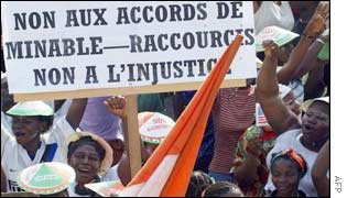 Demonstrators in Abidjan on Monday