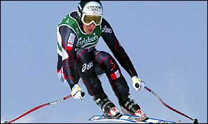 Michaela Dorfmeister on her way to victory in the super-G