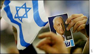 Supporters of Israeli Prime Minister Ariel Sharon hold a picture of him and wave an Israeli flag, 28 Jan 2003