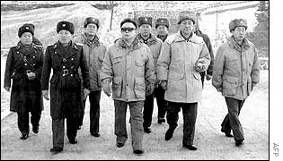 North Korean leader Kim Jong-il (centre, dark glasses) inspecting an army unit along with top military leaders at an undisclosed location in North Korea, 23 January 2003.
