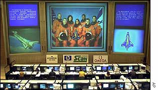 Space shuttle pictures at Russian mission control