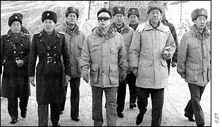 North Korea's leader Kim Jong-il inspects an army unit