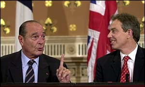 Jacques Chirac and Tony Blair at Anglo-French summit in November 2001