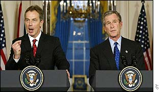Prime Minister Tony Blair (left) and President George Bush