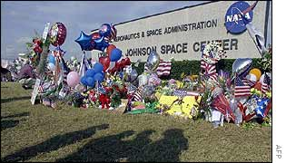 Flowers and balloons left at the Johnson Space Center in memory of the Columbia astronauts