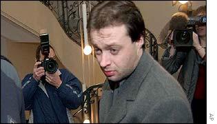 Frenchman Stephane Breitwieser arrives at the court in Bulle, Switzerland, 4 Feb 2003.