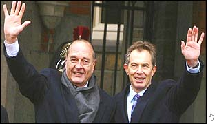 French president Jacques Chirac and Prime Minister Tony Blair
