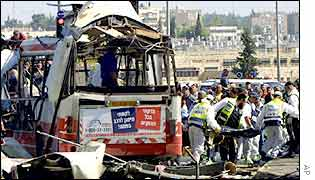 Bus hit by suicide bomber