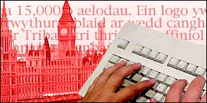 Graphic of the House of Commons, Welsh text and a keyboard