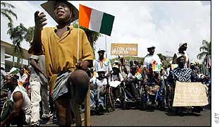 Women demonstrating in Abidjan on Monday