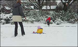 Children at play in snow
