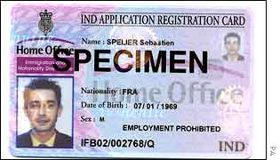 A specimen ID card