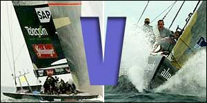 Team New Zealand (left) take on Alinghi for the America's Cup