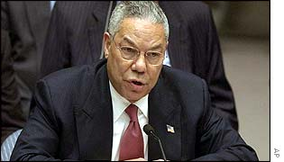 Colin Powell addresses UN Security Council