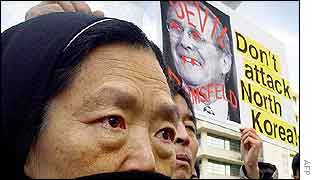 South Korean Catholic nun chants anti-US slogans, 06 February 2003