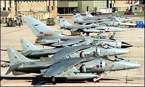A selection of Royal Air Force Jaguars, Harriers and Tornados