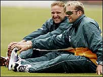 Allan Donald and Jacques Kallis in training