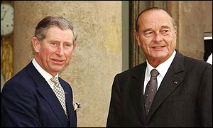 Prince Charles and President Jacques Chirac