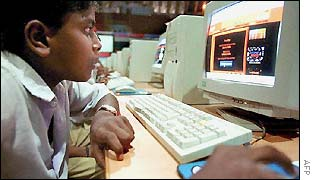 Child in India using the internet