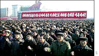 North Koreans rally in Pyongyang