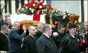 John Gregg's coffin was draped in a loyalist flag