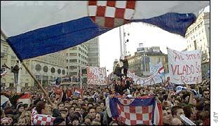 The crowd in Zagreb, Croatia