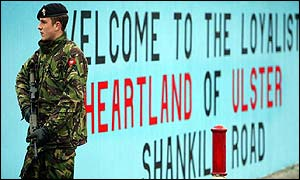 Soldier patrol in Shankill