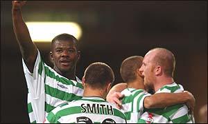 Bobo Balde (left) celebrates his two goals