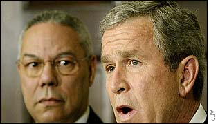 President Bush and Secretary of State Colin Powell