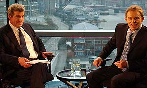 Tony Blair in a previous interview with Jeremy Paxman