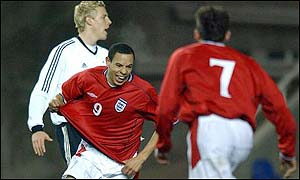 England striker Nathan Tyson turns to celebrate his winning goal in the 2-1 victory over Germany