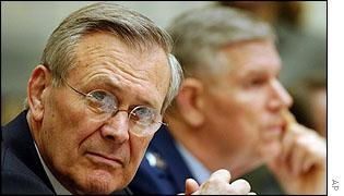 Donald Rumsfeld at Armed Services hearing in Washington on Wednesday