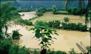 The Nam Ngum River at Vang Vieng