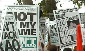 Anti-war placards